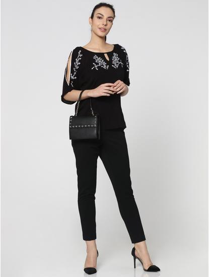 Black Mid-Rise Comfort Fit Stretch Pants