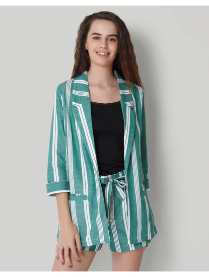 Green Striped Blazer