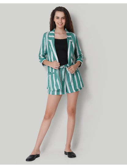 Green Striped Blazer