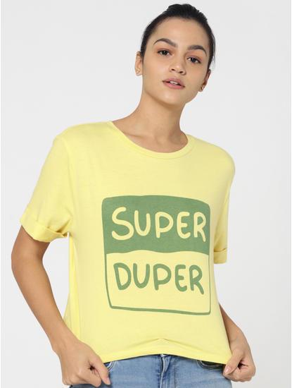 Yellow Text Print Criss Cross Back T-Shirt
