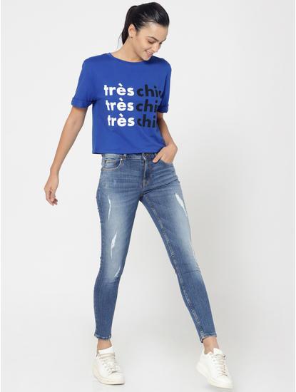 Blue Text Print Criss Cross Back T-Shirt