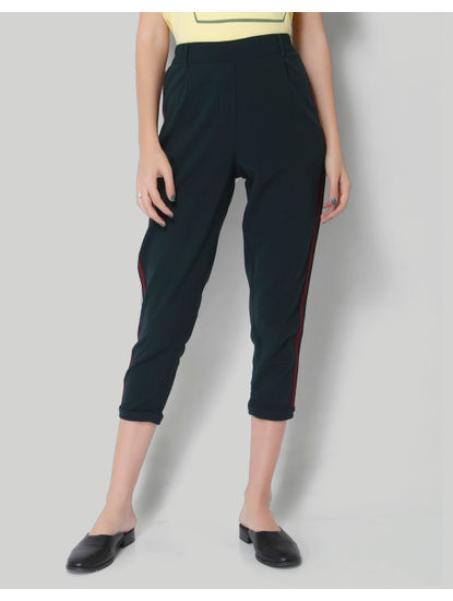 Turquoise Tape Detail Mid Rise Ankle Length Pants
