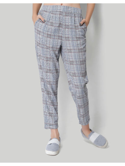 X Marvel Grey Self Design Mid Rise Relaxed Fit Pants