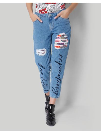 X Marvel Light Blue Patch & Text Print Mid Rise Boyfriend Jeans