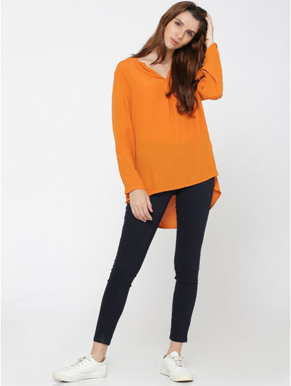 Orange High Low Top