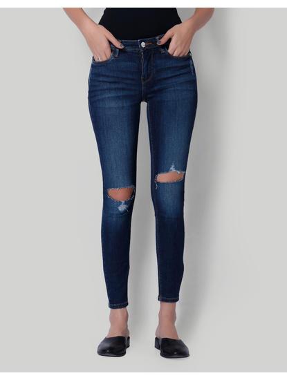 Dark Blue Split Knee Mid Rise Skinny Fit Jeans