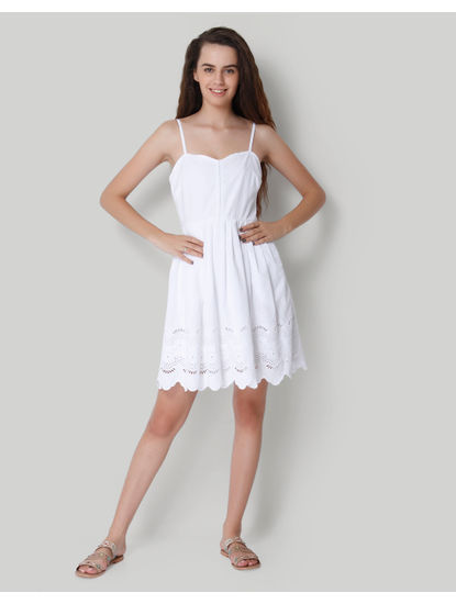 White Spaghetti Strap Cut Work Mini Dress