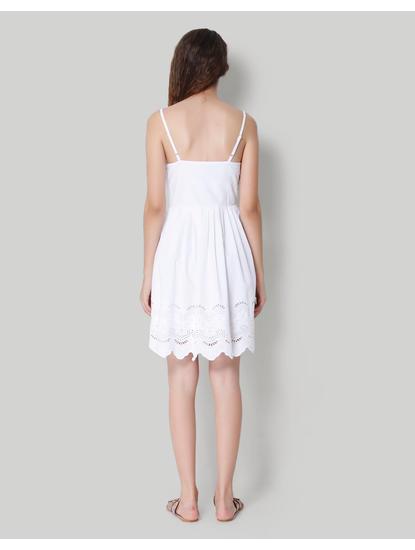 White Spaghetti Strap Cut Work Mini Dress
