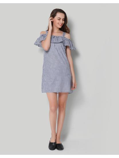White Checkered Cold Shoulder Shift Dress