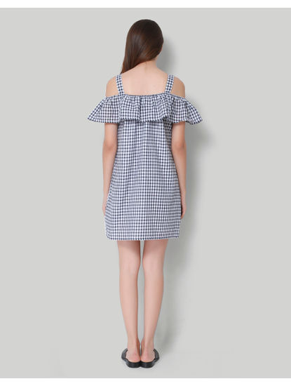 White Checkered Cold Shoulder Shift Dress