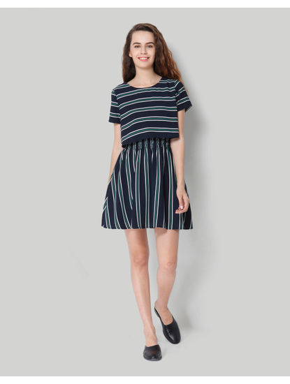 Turquoise Striped Fit & Flare Dress