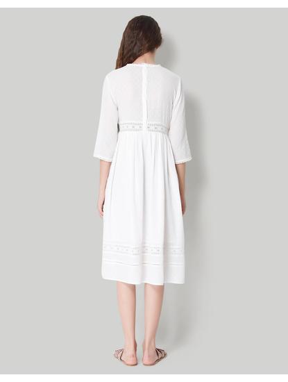 White Self Design Lace Detail Midi Dress