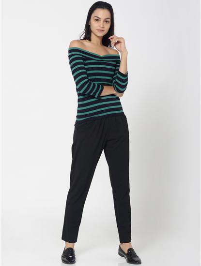 Green and Black Striped Off Shoulder Top