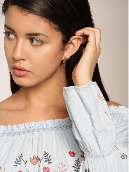 Gold Colour Dots Drop Earrings