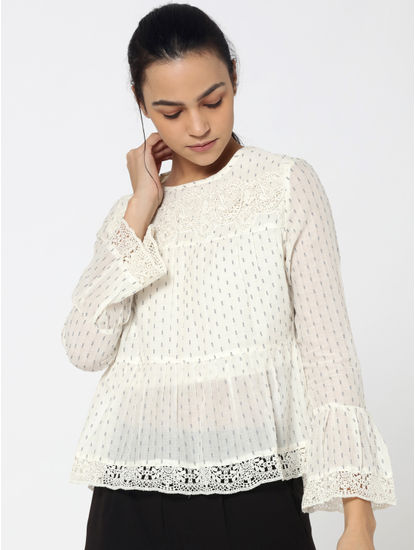White Lace Detail Contrast Dobby Top