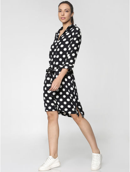 Black All Over Polka Dot Print Front Tie Shirt Dress