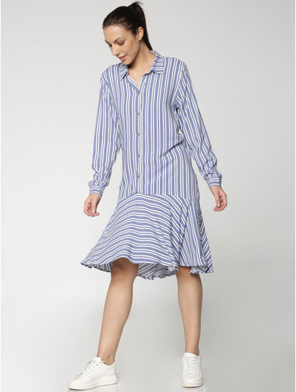 Ombre Blue Striped Asymmetric Hem Shirt Dress