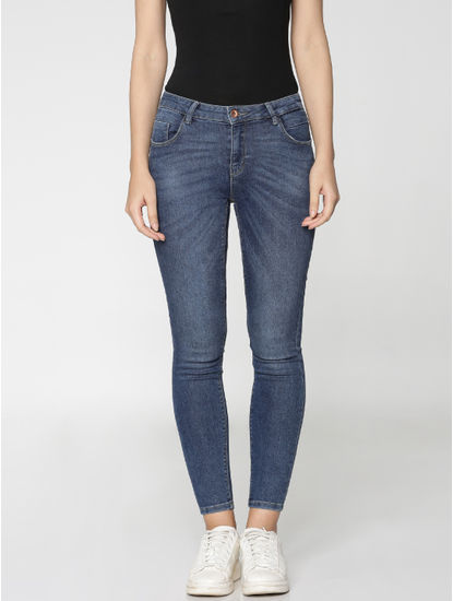 Dark Blue Mid Rise Ankle Length Skinny Fit Jeans