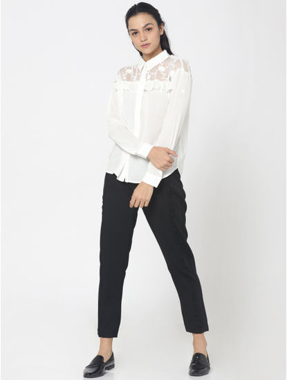 White Floral Print and Lace Detail Shirt