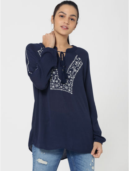 Dark Blue Embroidered Full Sleeves Top