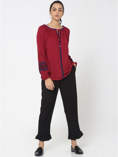 Red and Blue Embroidered Top