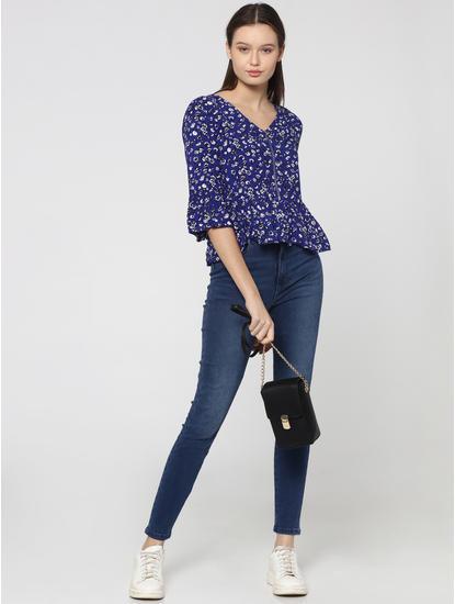 Blue Floral Printed Short Sleeves Top
