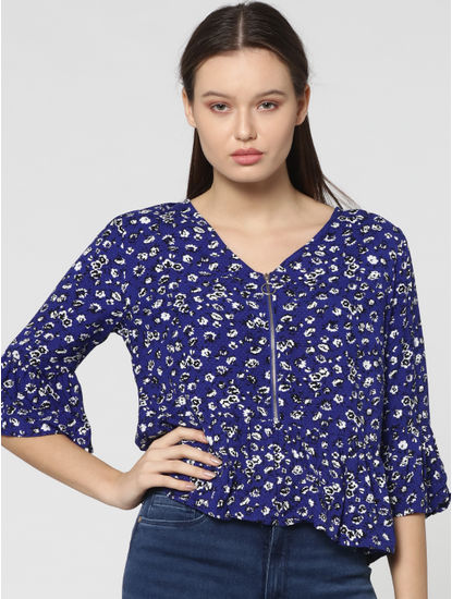 Blue Floral Printed Short Sleeves Top