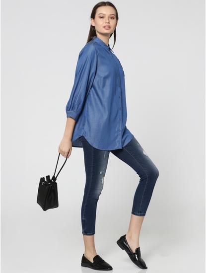 Blue Number Applique Print Denim Shirt