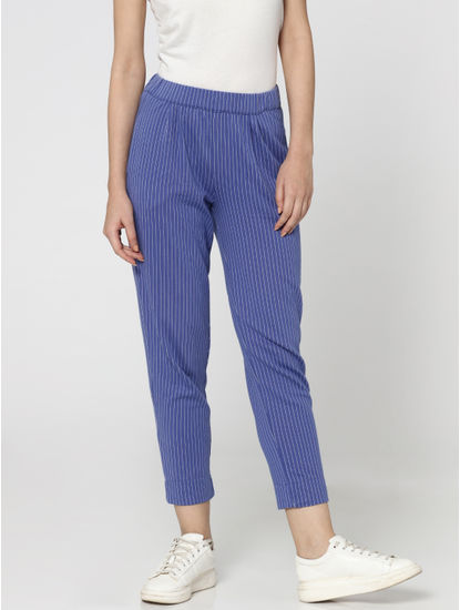 Blue Striped Mid Rise Relaxed Fit Pants