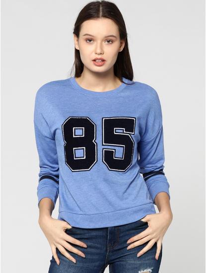 Blue Varsity Graphic Print Sweatshirt