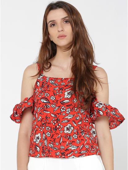 Red Floral Print Cold Shoulder Top
