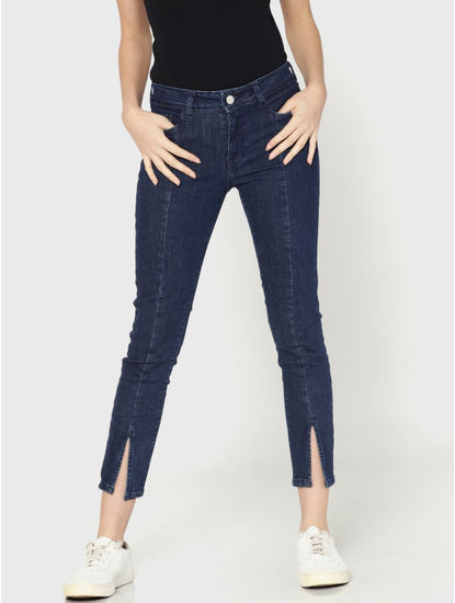 Dark Blue Mid Rise Skinny Fit Split Ankle Jeans