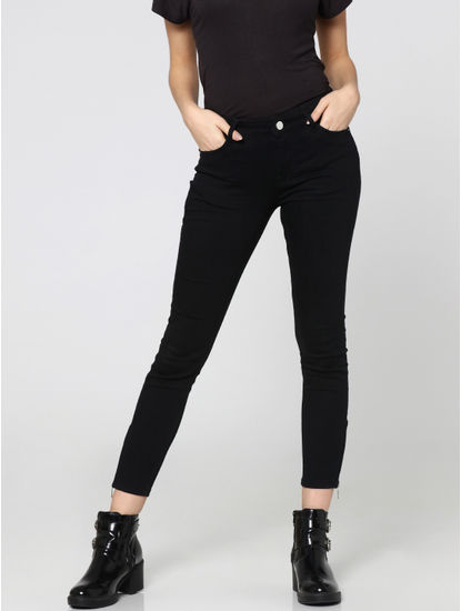 Black Mid Rise Zip Detail Skinny Fit Jeans