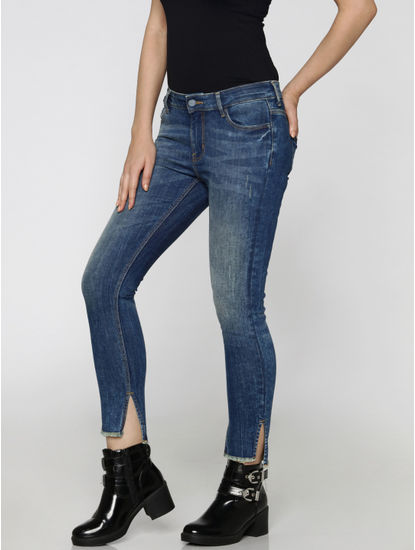 Blue Mid Rise Side Slit Cropped Skinny Fit Jeans