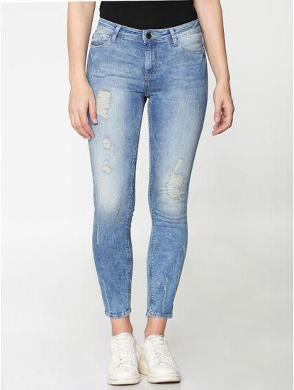 Light Blue Mid Rise Ripped Ankle Length Skinny Fit Jeans