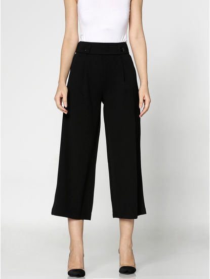 Black Mid Rise Ankle Length Culottes