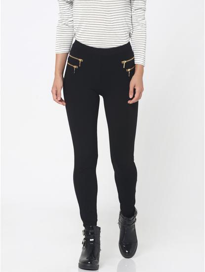 Black Double Zip Detail High Waist Skinny Fit Leggings