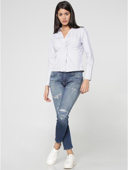 White Striped Twist Front Shirt