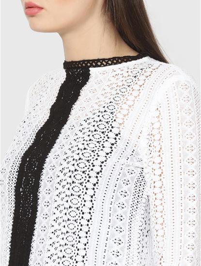 White Lace Colour Blocked Peplum Top