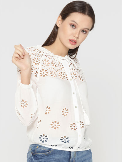 White Cut Work Embroidery Top