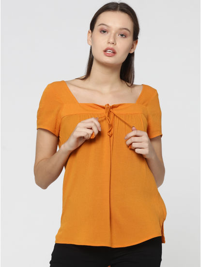 Mustard Tie Neck Detail Peasant Top