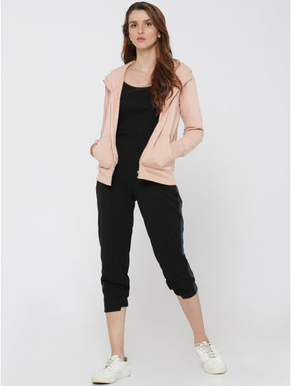 Black Tape Detail Mid Rise Relaxed Fit Cropped Pants