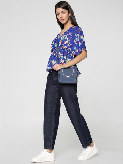 Blue Floral Print Cinched Waist Top