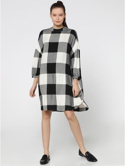 Black & White Buffalo Check Shift Dress