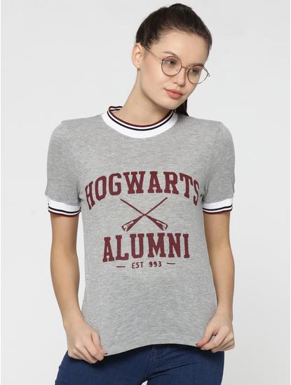 X Harry Potter Light Grey High Neck Varsity T-Shirt