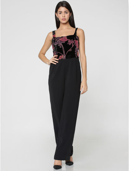 Black Floral Print Jumpsuit