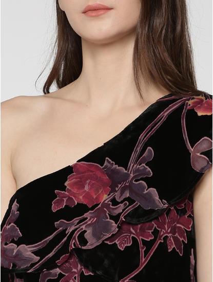 Black Floral Print Ruffle Detail Velvet One Shoulder Mini Dress