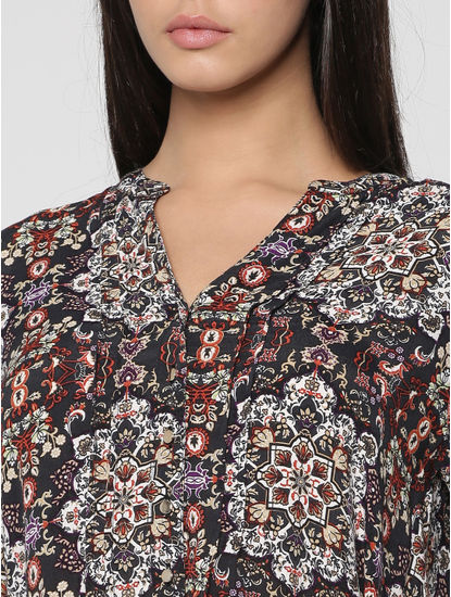 Blue All Over Floral Print High Low Shirt