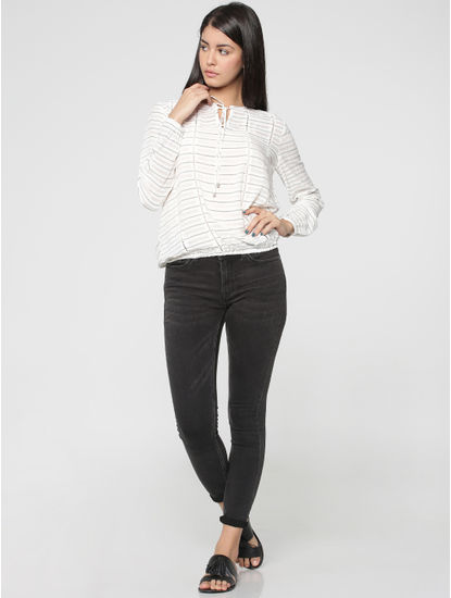 Grey Lace Inserts Stripped Long Sleeves Top