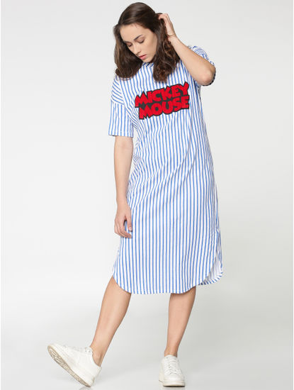 X Mickey White And Blue Striped Mickey Mouse Text Print T-Shirt